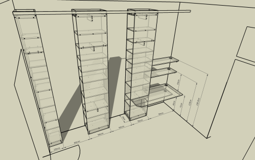The shelves for the linving room