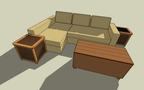 Our planned sofa arrangement (IKEA Manstead sofa with tow Hol boxes and our coffee table/storage box)