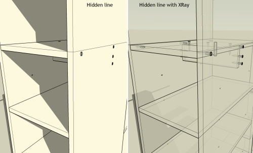 Example of hidden line with XRay mode